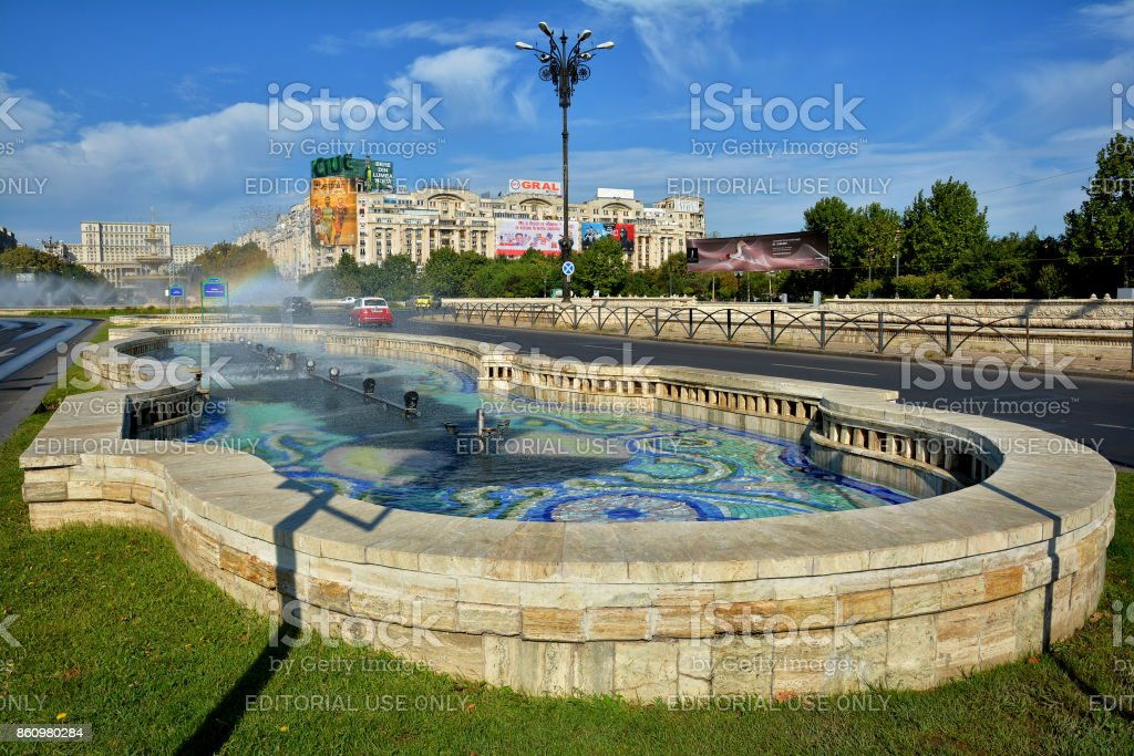 Union Square Fountain and Parliament Palace in Bucharest stock photo