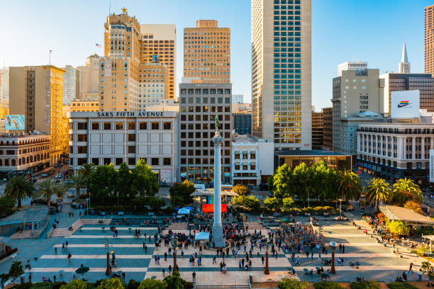 San Francisco, California, USA  - July 3, 2019: Union Square is a famous tourist destination and is surrounded by luxury shops.