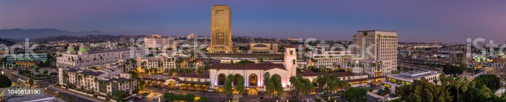 Union Station, Downtown Los Angeles - Aerial Panorama stock photo