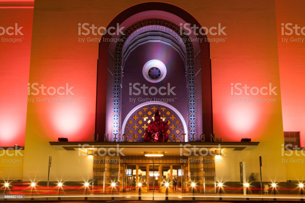 Union Station Los Angeles - Holiday Seasonal Lighting And Decorations - Building Exterior stock photo