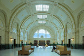 Seattle, USA - September 21, 2018: The waiting room of Union Station in Seattle. Located in the  Pionner Sqauer neighborhood of the city, the station opened in 1911 and underwent major renovations in 2000.