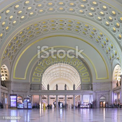 Washington DC, USA - November 2, 2018: The Great Hall of Washington's Union Station. Opened in 1907 - Union Station is a transportation hub serving as the southern terminus of the Northeast Corridor rail line as well as a station for commuter rail service, the Washington Metro, local and regional bus lines.