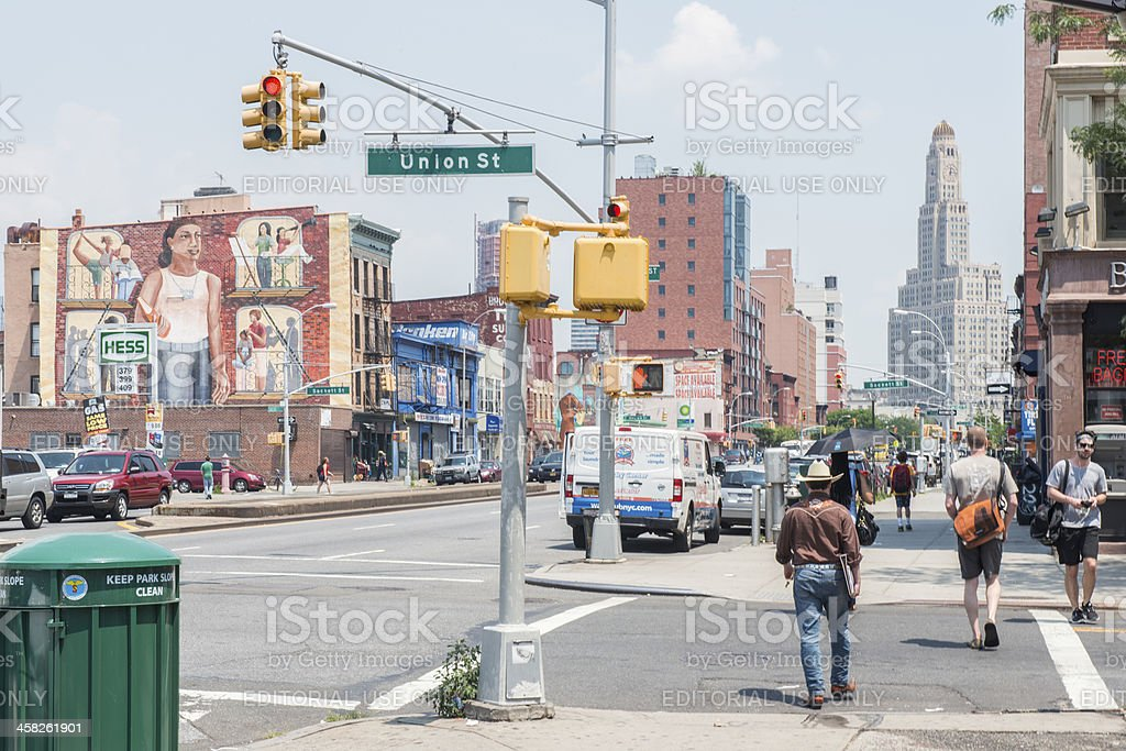 Union Street in Park Slope Brooklyn royalty-free stock photo