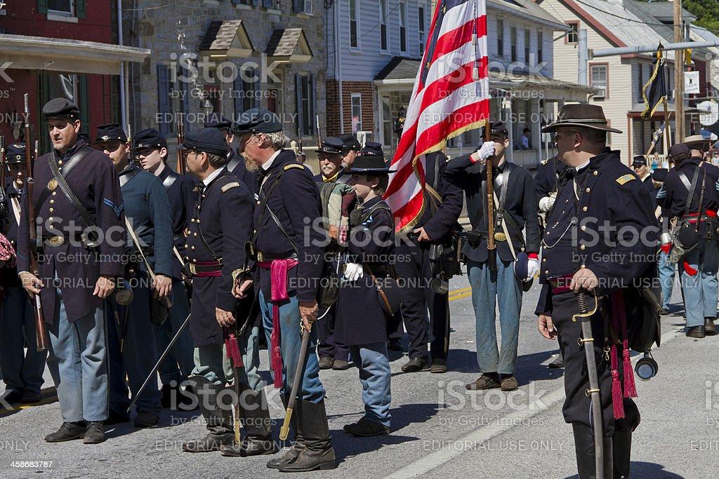 Union Troops, American Civil War Battle, Funkstown, MD stock photo