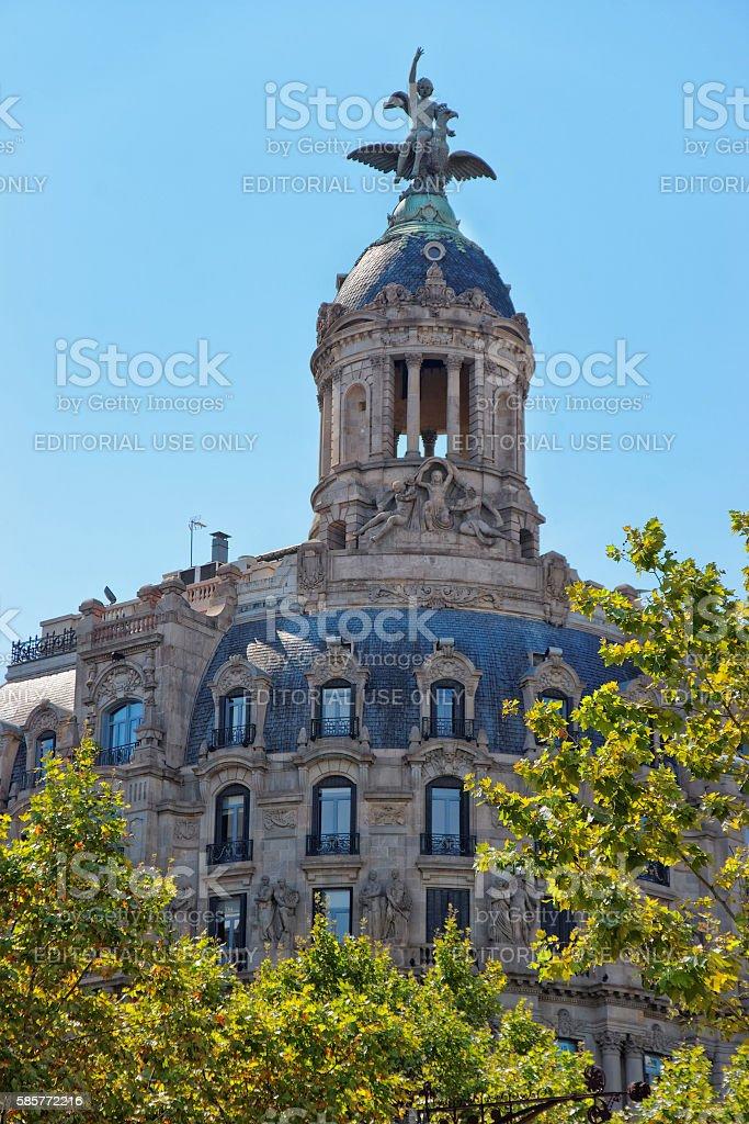 Union y el Fenix Espanol Building in Passeig de Gracia stock photo