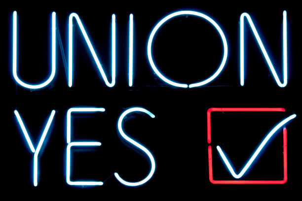 Union Yes A neon union yes sign. labor union stock pictures, royalty-free photos & images