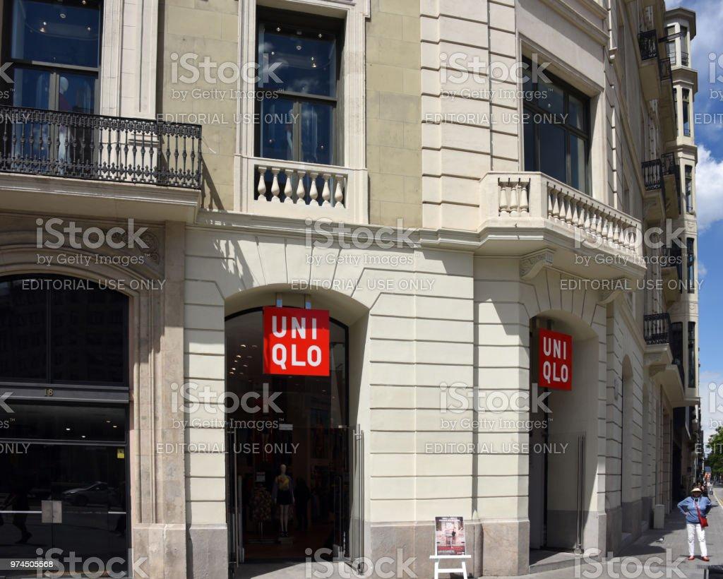 uniqlo store in barcelona spain royalty free stock photo