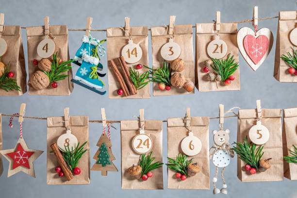 Unique Advent Calendar for Christmas as countdown to Christmas Eve stock photo