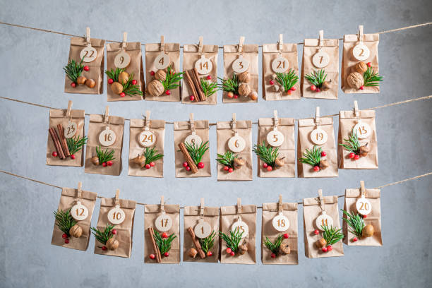 Unique Advent Calendar for Christmas hanging on a string stock photo