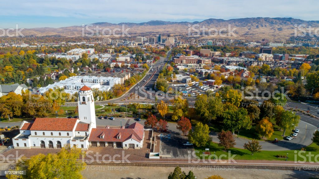 Unique aerial view of Boise with a train depot foreground stock photo