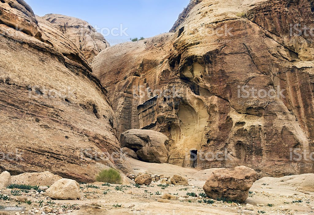 unique ancient city of Petra in Jordan royalty-free stock photo