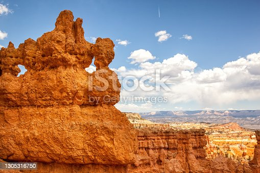 Unique and natural sandstone rock formations of Bryce Canyon National Park, United states, with summer sky background