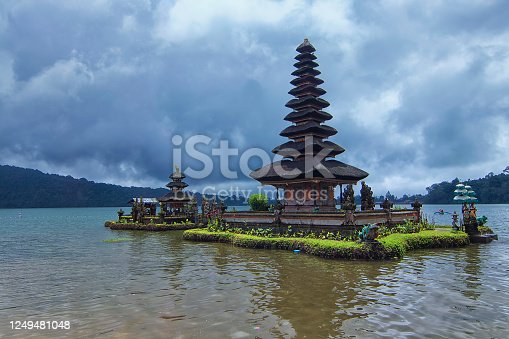 Unique architectural design of a floating tample at Bratan Lake inspired by Balinese Hinduism