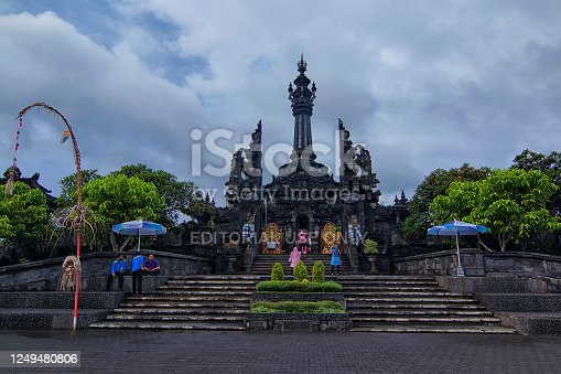 Bali, Indonesia - November 23rd, 2017: Unique architectural design of an enterance gate of an interactive museum in Bali. Bali is one of the beautiful island in Indonesia