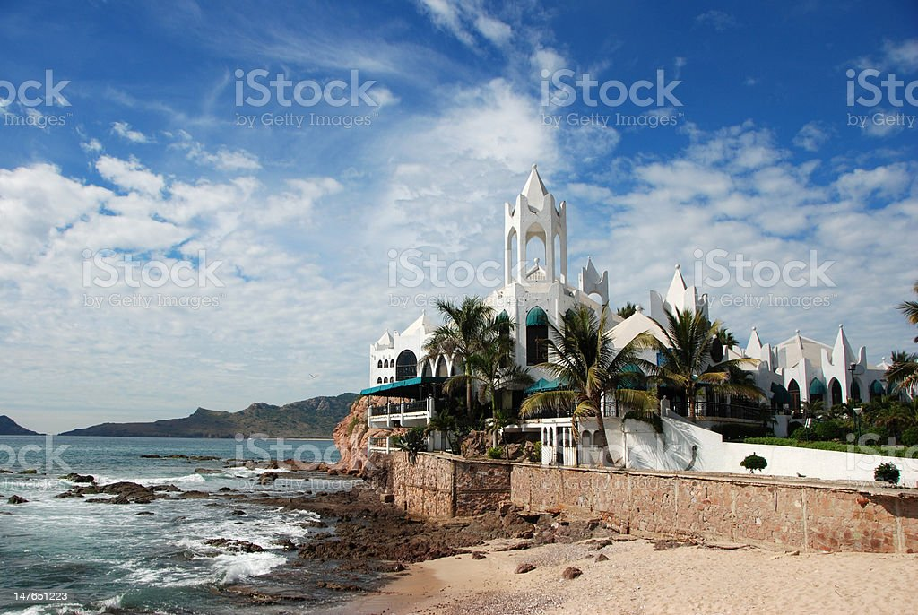Unique Buildings on the Mazatlan Coastline stock photo