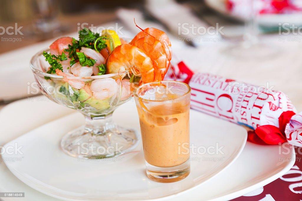 Unique Christmas shrimp cocktail entree stock photo