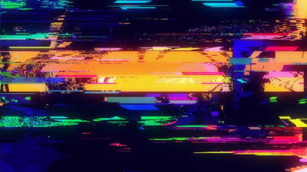 einzigartiges design abstrakte digitale pixel rauschen glitch fehler video schaden - bildeffekt stock-fotos und bilder