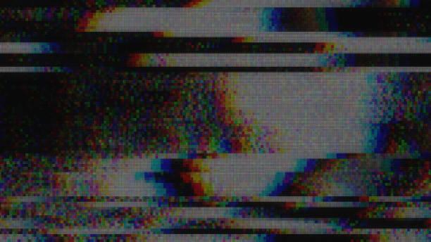 diseño único abstracto digital pixel ruido glitch error video daño - distorsionado fotografías e imágenes de stock