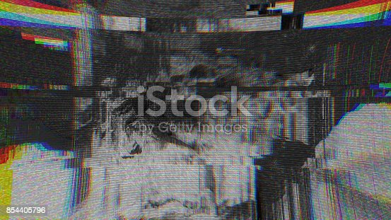 istock Unique Design Abstract Digital Pixel Noise Glitch Error Video Damage 854405796