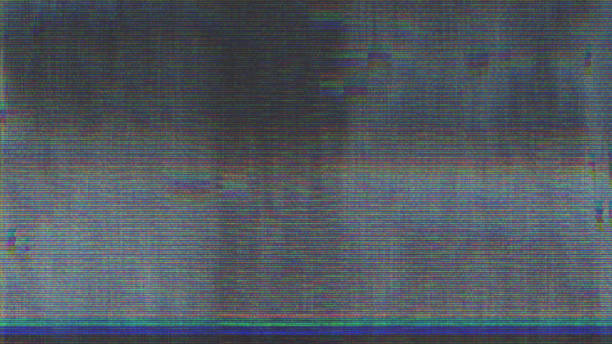 unique design abstract digital pixel noise glitch error video damage - striato foto e immagini stock