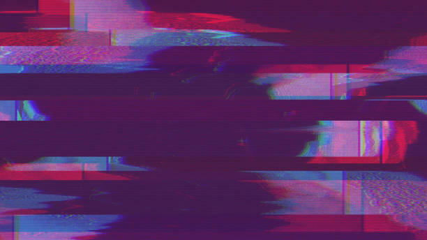 unique design abstract digital pixel noise glitch error video damage - texture effetti fotografici foto e immagini stock