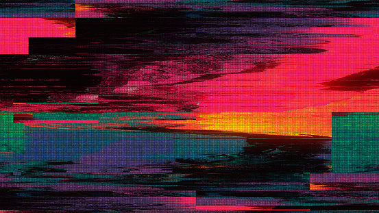 istock Unique Design Abstract Digital Pixel Noise Glitch Error Video Damage 992132108
