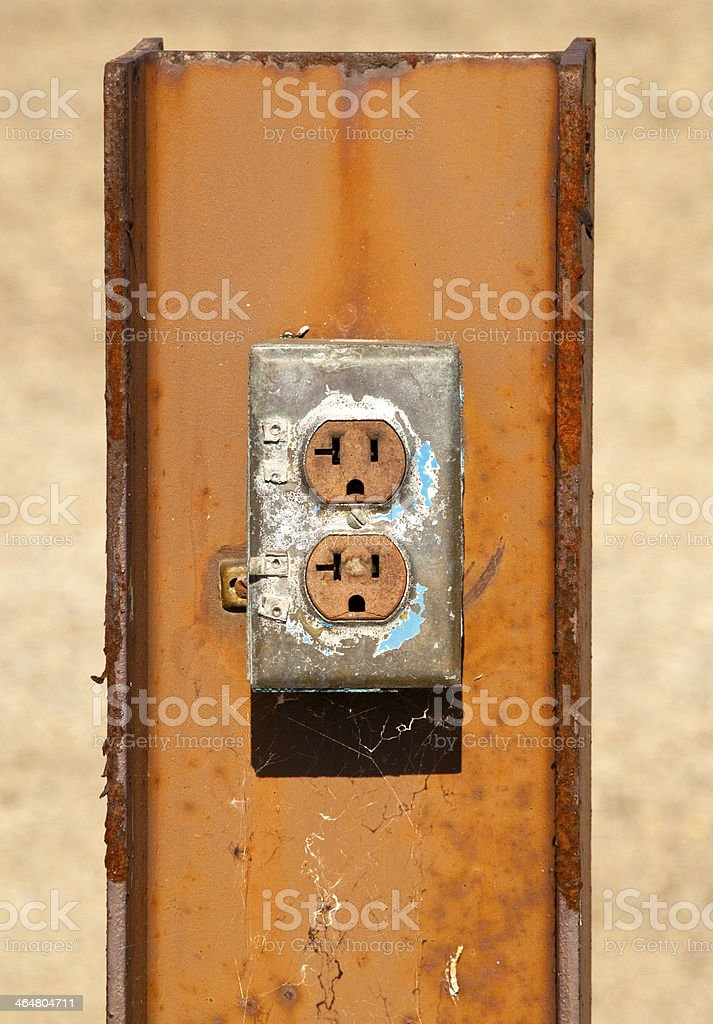 Unique Electrical Outlet On Rusted Metal Beam royalty-free stock photo