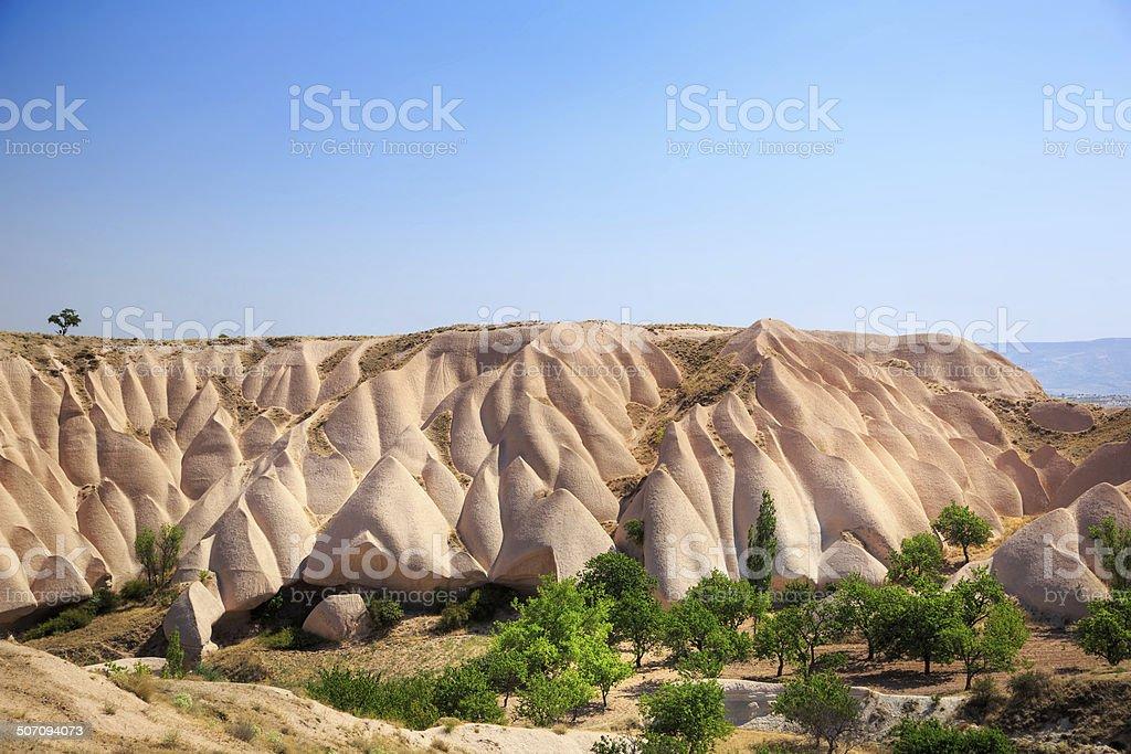 Unique eroded rock patterns of cappadocia stock photo