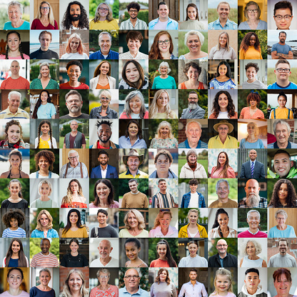 A 10x10 Collage of 100 unique faces, including people from a wide range of ethnicities, ages, and backgrounds, they are all from different walks of life.