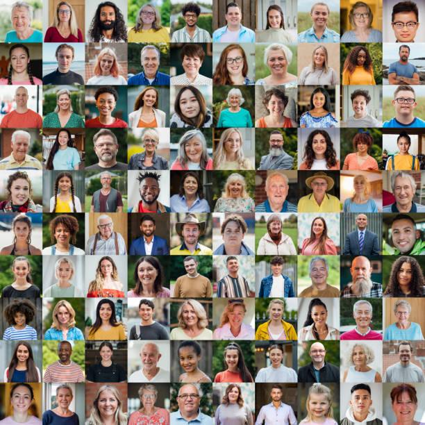 100 Unique Faces Collage stock photo