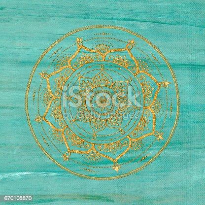 istock Unique golden mandala 670108870