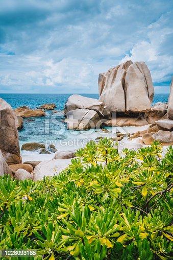 Unique granite rocky beach Anse Marron in La Digue island, Seycheles islands.