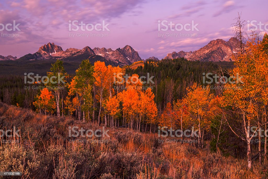 Unique image of Sawtooth mountains with autumn trees stock photo