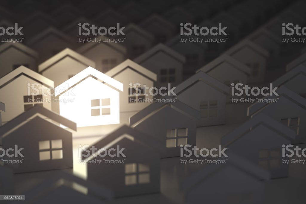 Unique lighting house sign in group of  houses. Real estate property industry concept background. stock photo