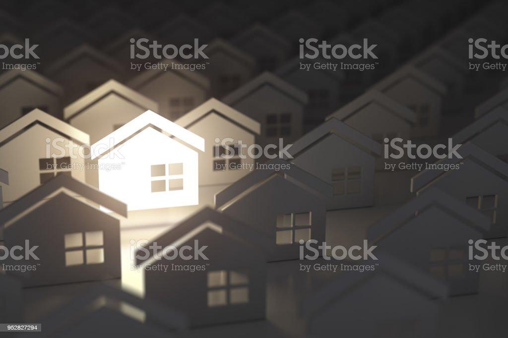 Muestra de la casa de iluminación única en el grupo de casas. Fondo de concepto de bienes raíces propiedad industria. - foto de stock