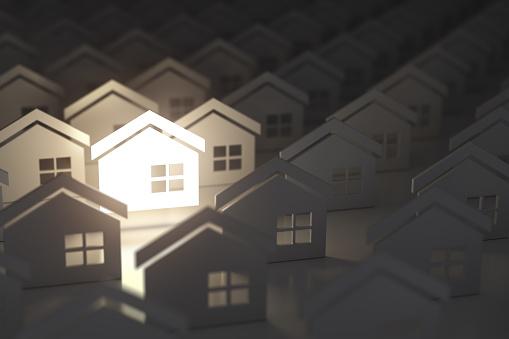 Einzigartige Beleuchtung Hauszeichen In Gruppe Von Häusern Immobilien Immobilien Industrie Konzept Hintergrund Stockfoto und mehr Bilder von Abstrakt