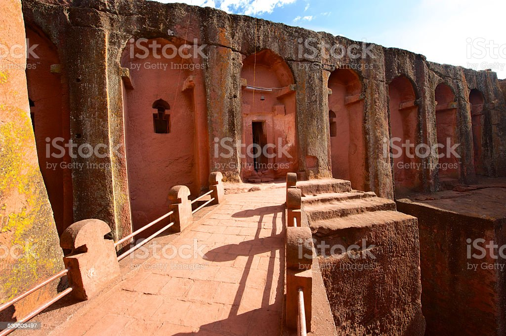 Unique monolithic rock-hewn church, Lalibela, Ethiopia. stock photo