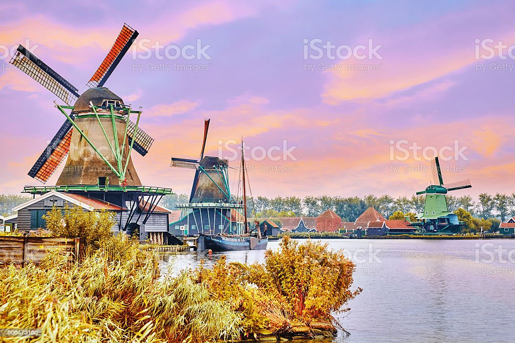 Unique old, authentic, real working windmills. stock photo
