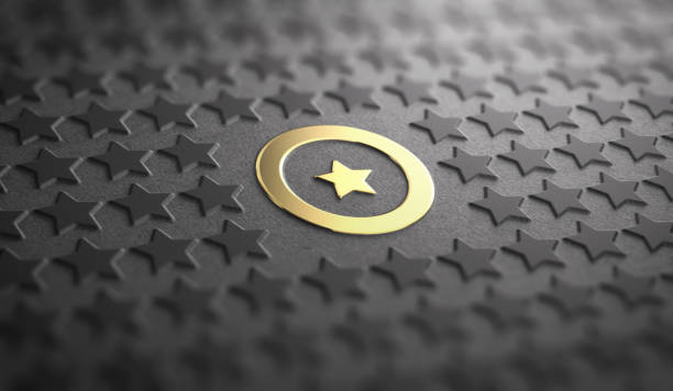 Unique or Difference Concept. Focus on one Golden Star stock photo