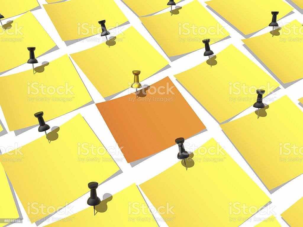 Unique paper pinned to a white background royalty-free stock photo