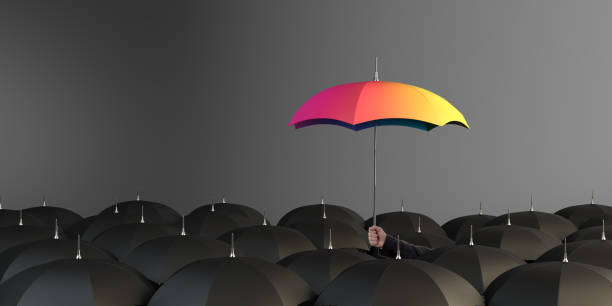 Unique Rainbow Colored Umbrella stock photo