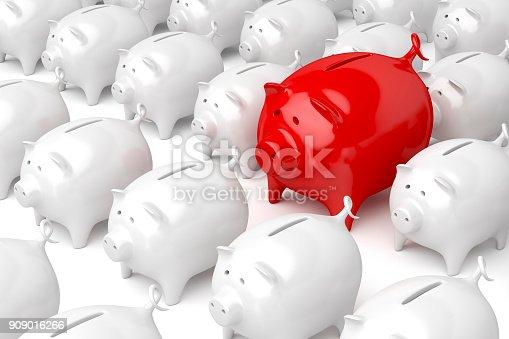 istock Unique red piggy bank 909016266