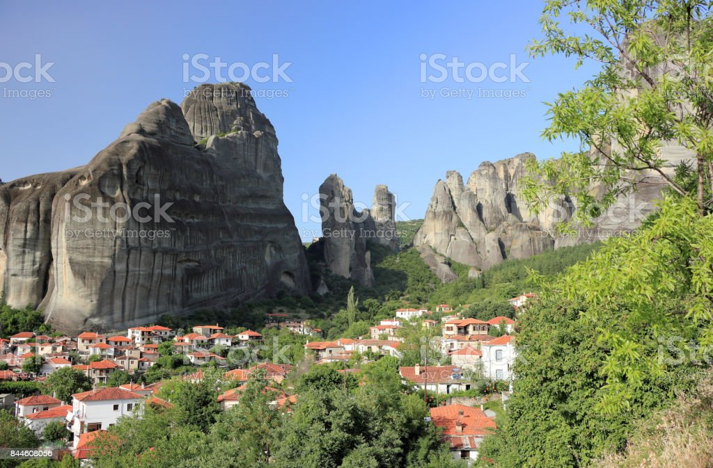 Unique rock formations in Meteora. Kalambaka, Kastraki, central Greece. stock photo
