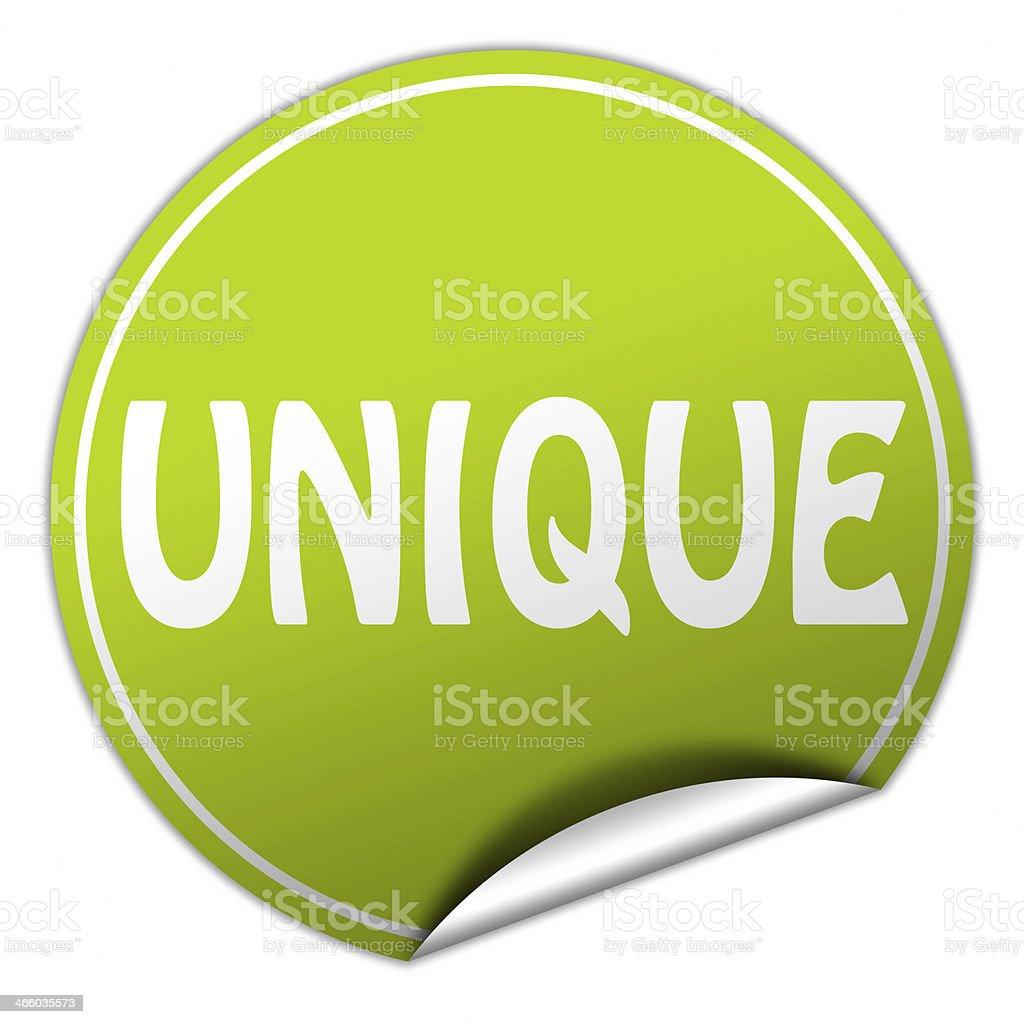 unique round green sticker on white background stock photo