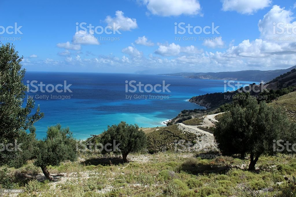 Unique sea surface and clouds on windy day stock photo