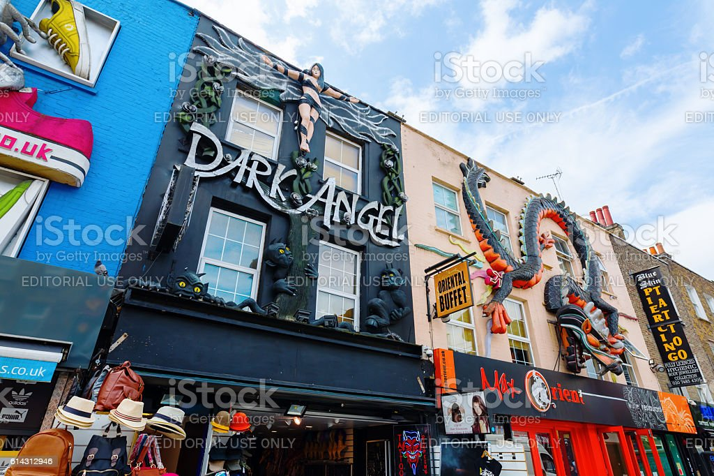 unique shopping street in Camden, London, UK stock photo