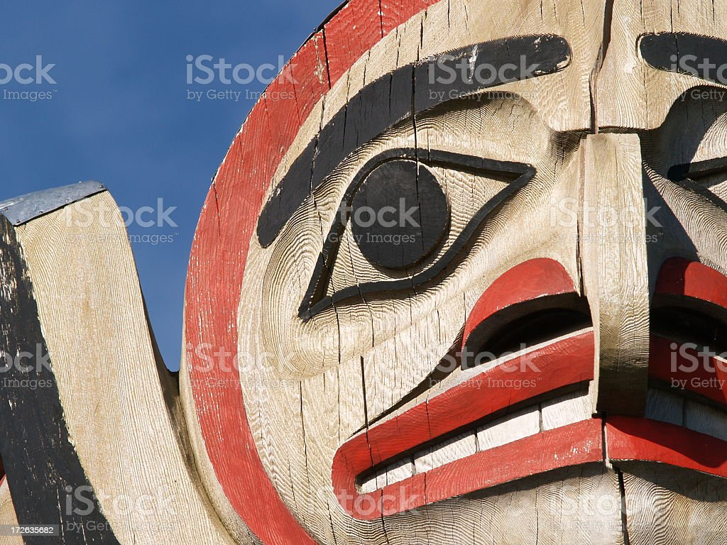 A unique Totem in Vancouver BC stock photo