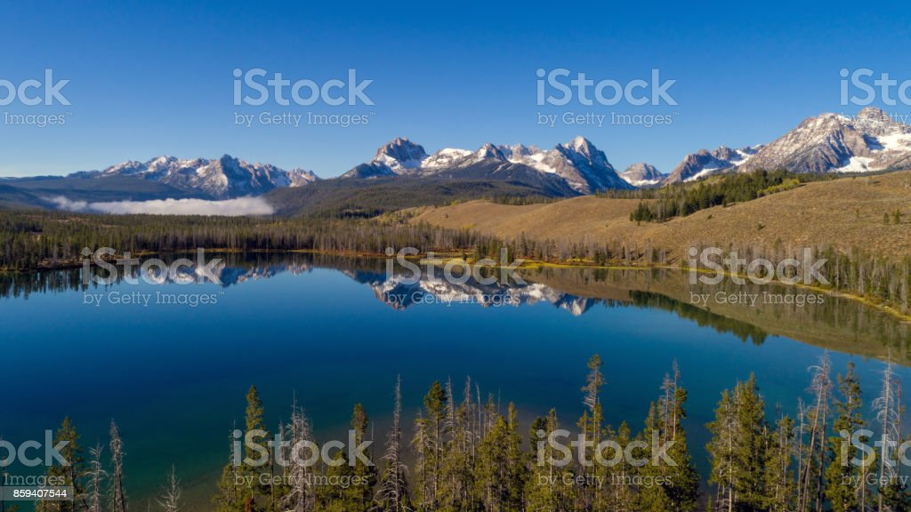 Unique view of Little Redfish Lake and the Sawtooth Mountains Idaho stock photo