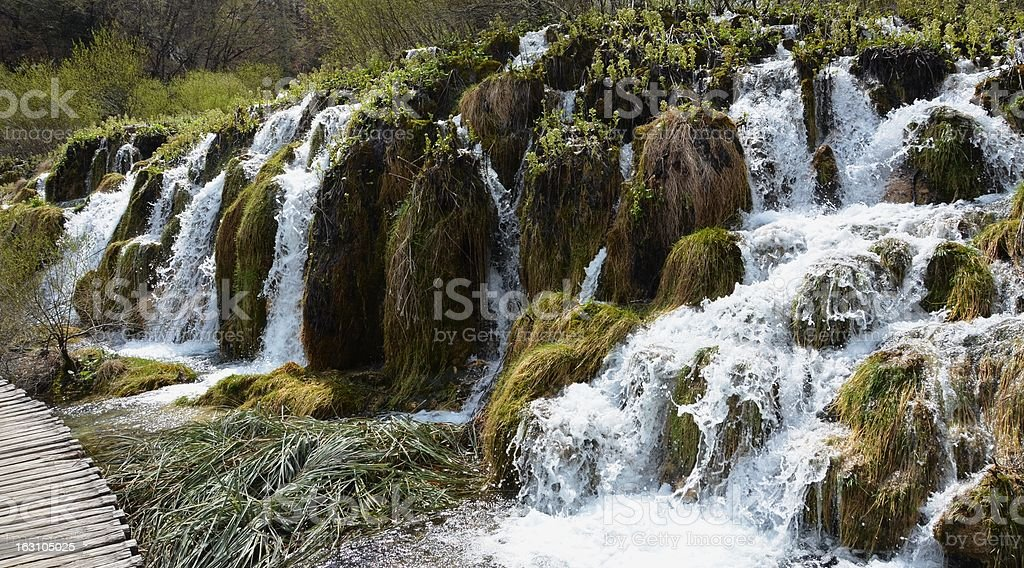 Unique waterfall formation at Plitvice Lakes National Park, Croatia royalty-free stock photo