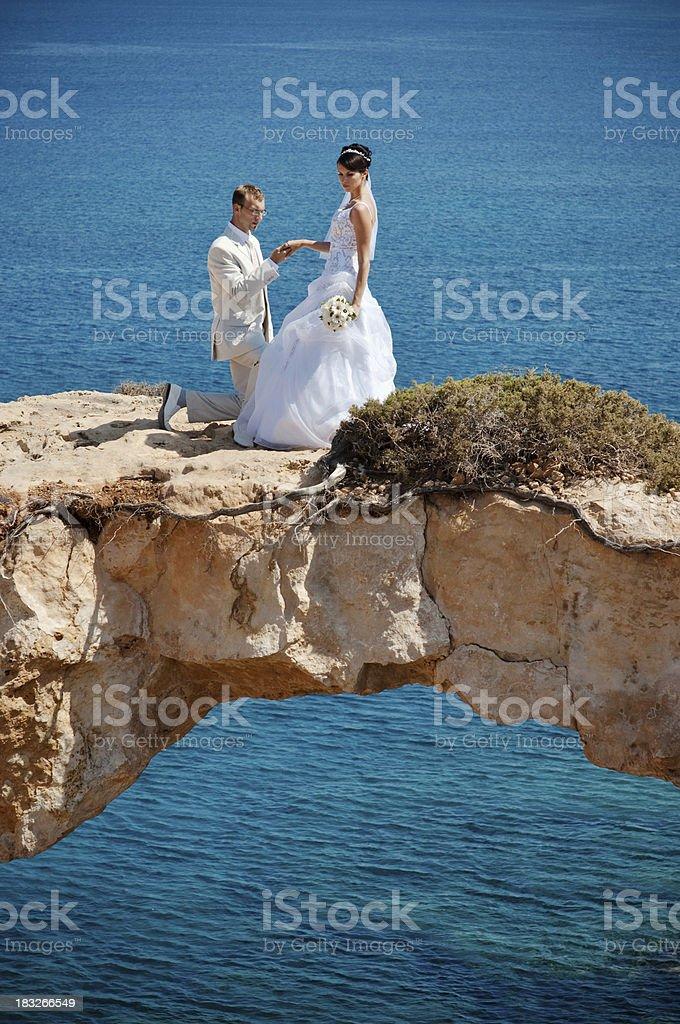 Unique wedding proposal stock photo